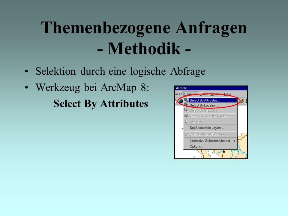 Themenbezogene Anfragen - Methodik - Selektion durch eine logische Abfrage Werkzeug bei ArcMap 8: Select By Attributes