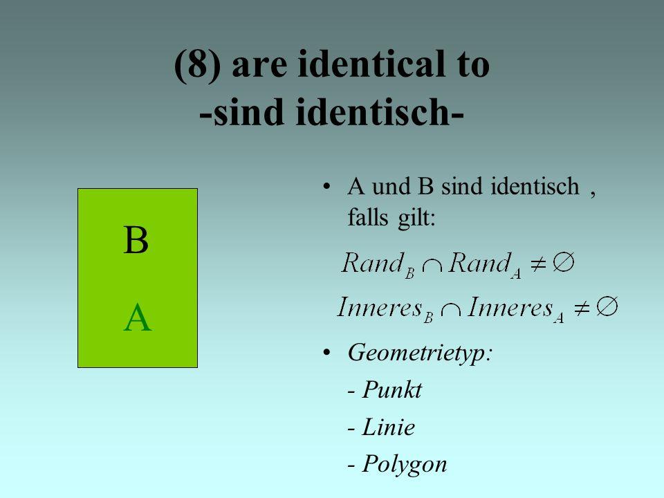 A (8) are identical to -sind identisch- A und B sind identisch, falls gilt: Geometrietyp: - Punkt - Linie - Polygon B