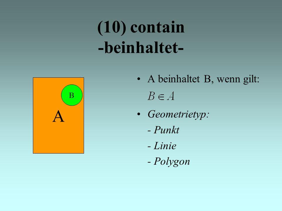 (10) contain -beinhaltet- A beinhaltet B, wenn gilt: A B Geometrietyp: - Punkt - Linie - Polygon