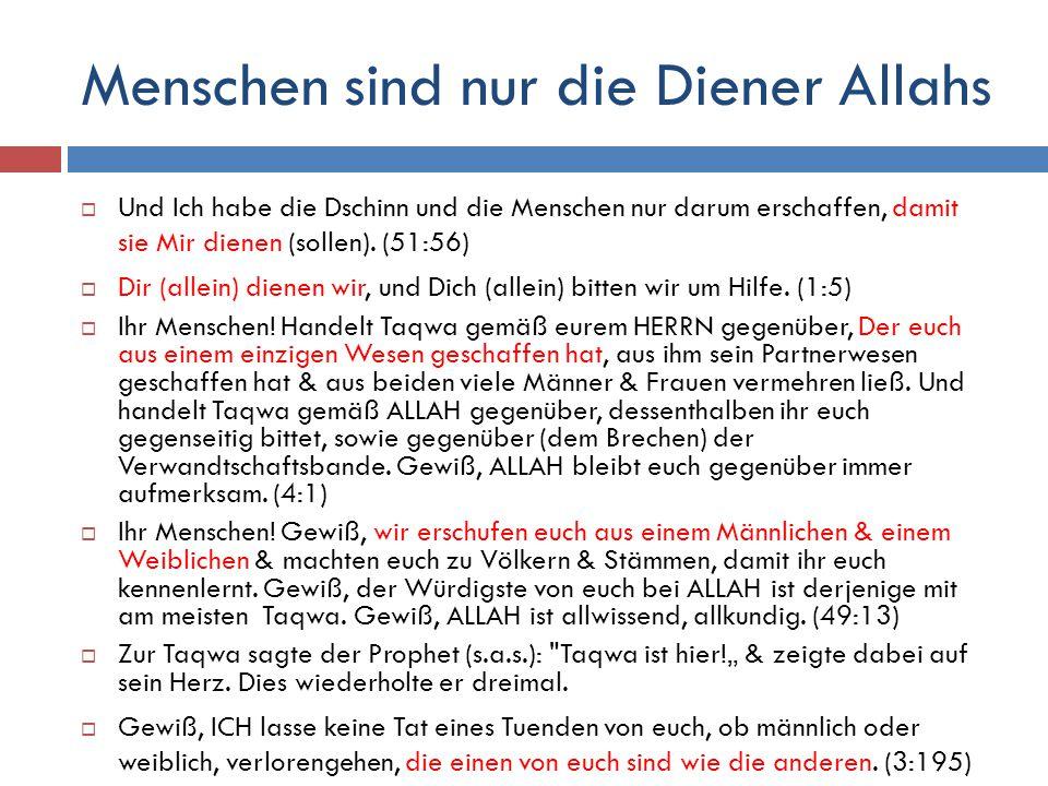 Menschen sind nur die Diener Allahs  Und Ich habe die Dschinn und die Menschen nur darum erschaffen, damit sie Mir dienen (sollen). (51:56)  Dir (al