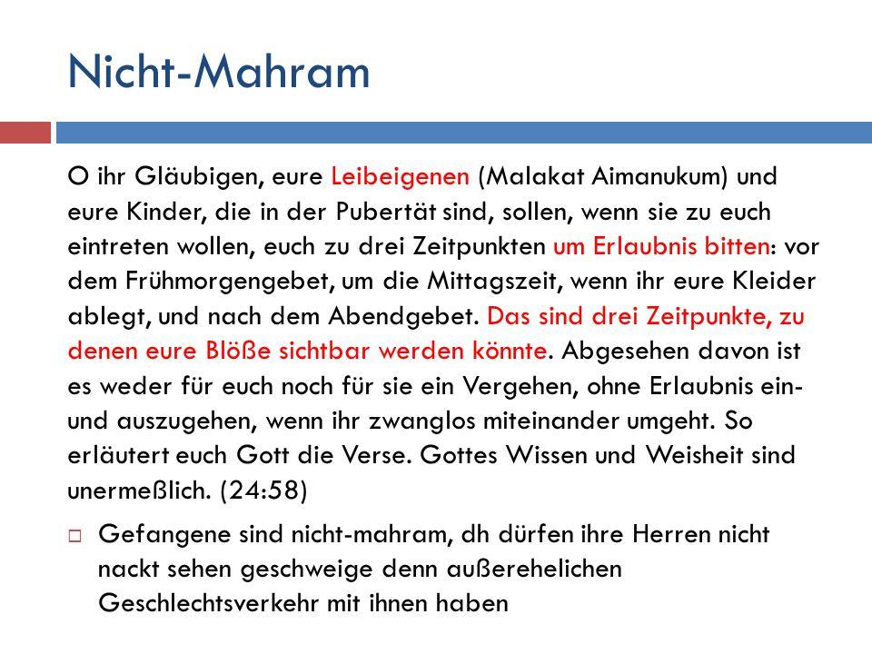 Nicht-Mahram O ihr Gläubigen, eure Leibeigenen (Malakat Aimanukum) und eure Kinder, die in der Pubertät sind, sollen, wenn sie zu euch eintreten wollen, euch zu drei Zeitpunkten um Erlaubnis bitten: vor dem Frühmorgengebet, um die Mittagszeit, wenn ihr eure Kleider ablegt, und nach dem Abendgebet.
