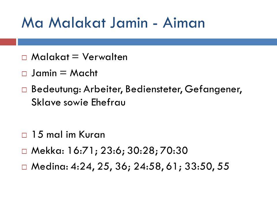 Ma Malakat Jamin - Aiman  Malakat = Verwalten  Jamin = Macht  Bedeutung: Arbeiter, Bediensteter, Gefangener, Sklave sowie Ehefrau  15 mal im Kuran  Mekka: 16:71; 23:6; 30:28; 70:30  Medina: 4:24, 25, 36; 24:58, 61; 33:50, 55