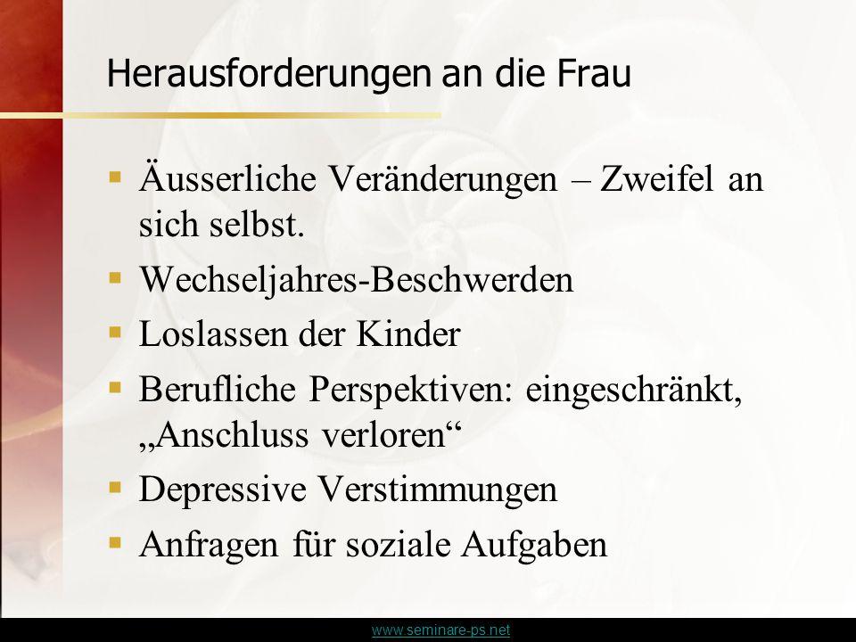www.seminare-ps.net Herausforderungen an die Frau  Äusserliche Veränderungen – Zweifel an sich selbst.