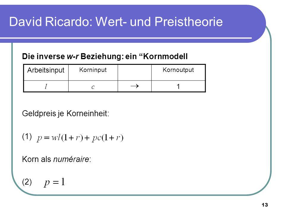 13 David Ricardo: Wert- und Preistheorie Die inverse w-r Beziehung: ein Kornmodell Geldpreis je Korneinheit: (1) Korn als numéraire: (2) Arbeitsinput KorninputKornoutput lc 1