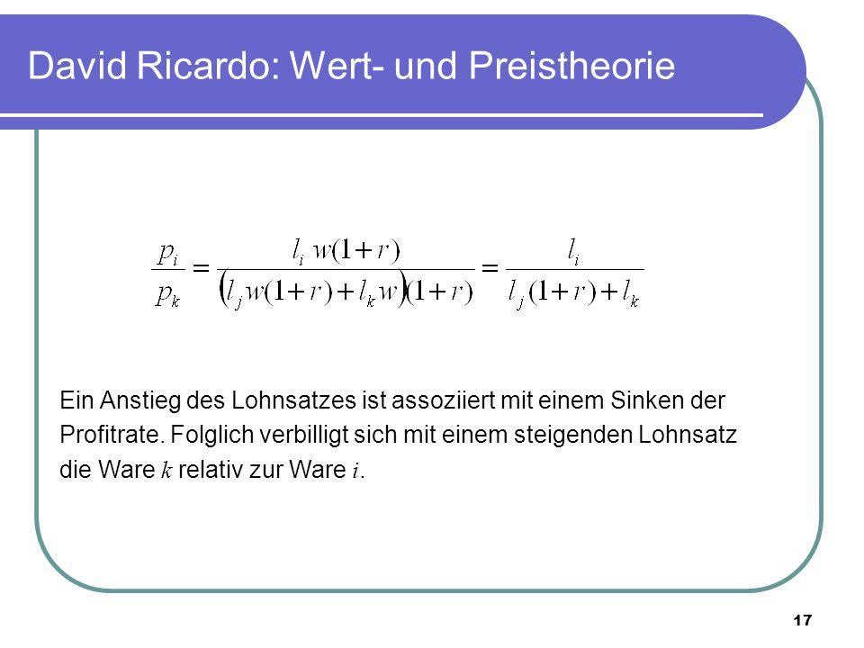17 David Ricardo: Wert- und Preistheorie Ein Anstieg des Lohnsatzes ist assoziiert mit einem Sinken der Profitrate.