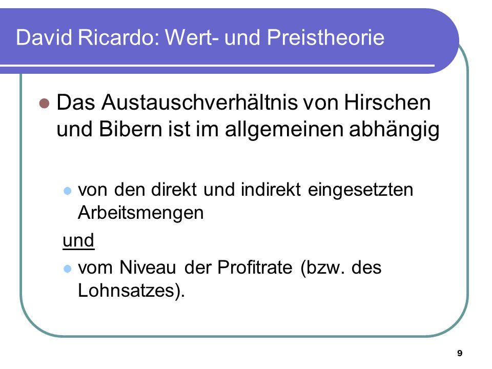 9 David Ricardo: Wert- und Preistheorie Das Austauschverhältnis von Hirschen und Bibern ist im allgemeinen abhängig von den direkt und indirekt eingesetzten Arbeitsmengen und vom Niveau der Profitrate (bzw.