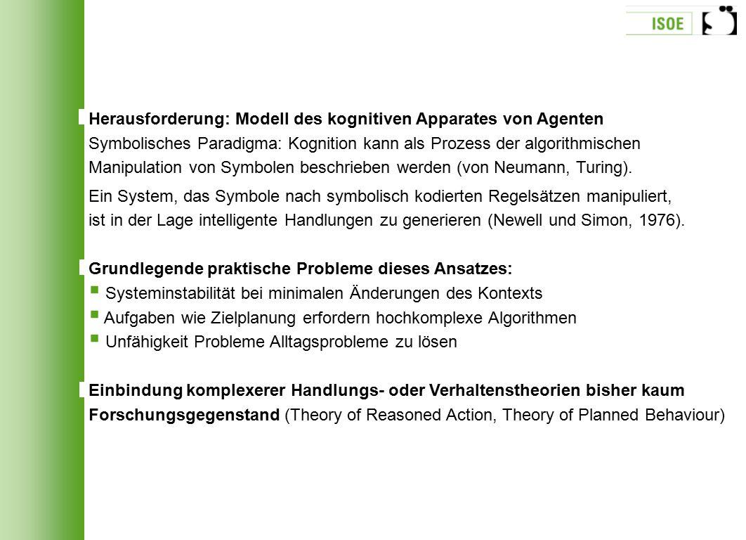 Herausforderung: Modell des kognitiven Apparates von Agenten Symbolisches Paradigma: Kognition kann als Prozess der algorithmischen Manipulation von S
