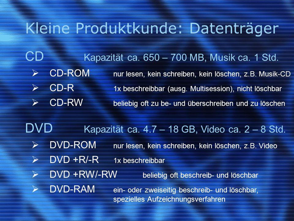 Kleine Produktkunde: Datenträger CD Kapazität ca. 650 – 700 MB, Musik ca.