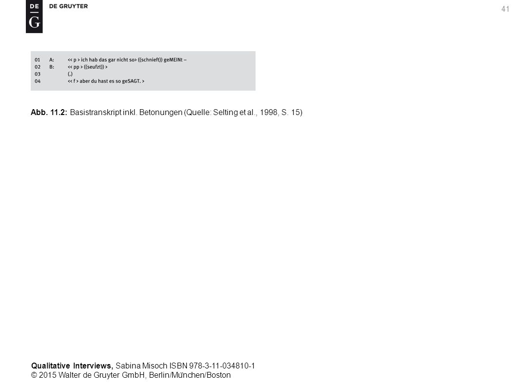 Qualitative Interviews, Sabina Misoch ISBN 978-3-11-034810-1 © 2015 Walter de Gruyter GmbH, Berlin/Mu ̈ nchen/Boston 41 Abb.