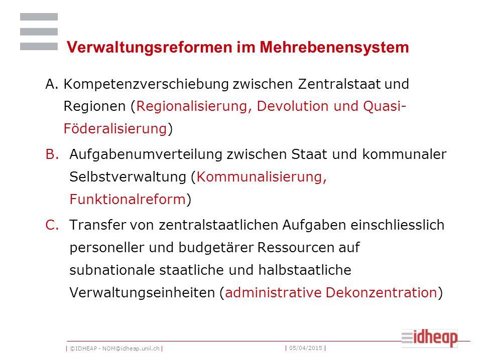 | ©IDHEAP - NOM@idheap.unil.ch | | 05/04/2015 | Verwaltungsreformen im Mehrebenensystem A.Kompetenzverschiebung zwischen Zentralstaat und Regionen (Re