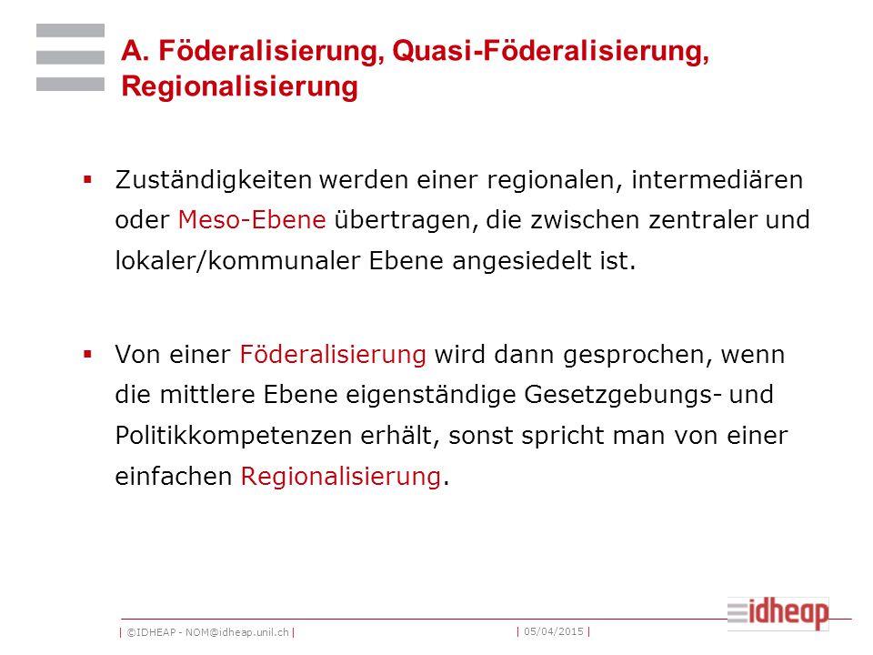 | ©IDHEAP - NOM@idheap.unil.ch | | 05/04/2015 | A. Föderalisierung, Quasi-Föderalisierung, Regionalisierung  Zuständigkeiten werden einer regionalen,
