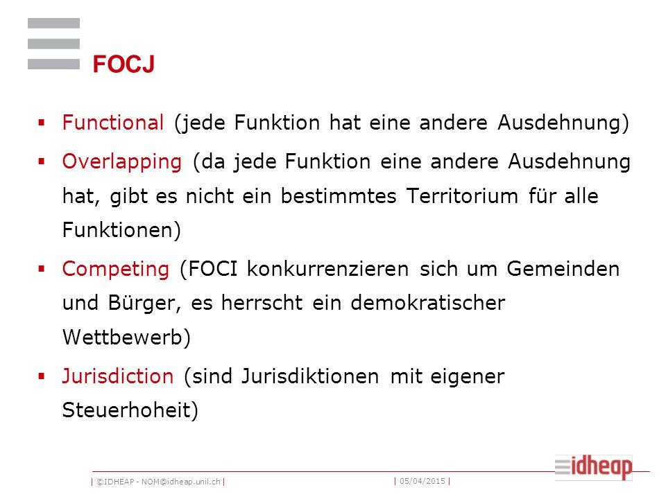 | ©IDHEAP - NOM@idheap.unil.ch | | 05/04/2015 | FOCJ  Functional (jede Funktion hat eine andere Ausdehnung)  Overlapping (da jede Funktion eine andere Ausdehnung hat, gibt es nicht ein bestimmtes Territorium für alle Funktionen)  Competing (FOCI konkurrenzieren sich um Gemeinden und Bürger, es herrscht ein demokratischer Wettbewerb)  Jurisdiction (sind Jurisdiktionen mit eigener Steuerhoheit)