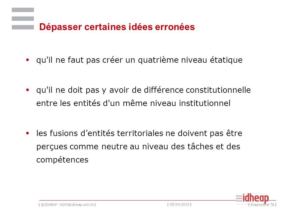 | ©IDHEAP - NOM@idheap.unil.ch | | 05/04/2015 | Dépasser certaines idées erronées  qu'il ne faut pas créer un quatrième niveau étatique  qu'il ne do