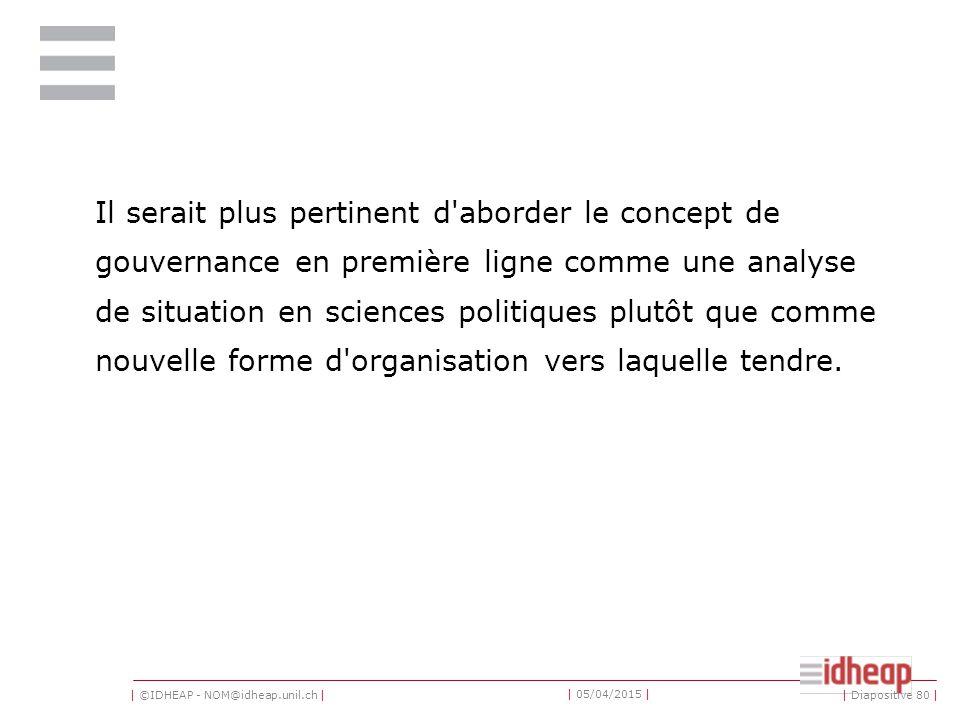 | ©IDHEAP - NOM@idheap.unil.ch | | 05/04/2015 | Il serait plus pertinent d'aborder le concept de gouvernance en première ligne comme une analyse de si