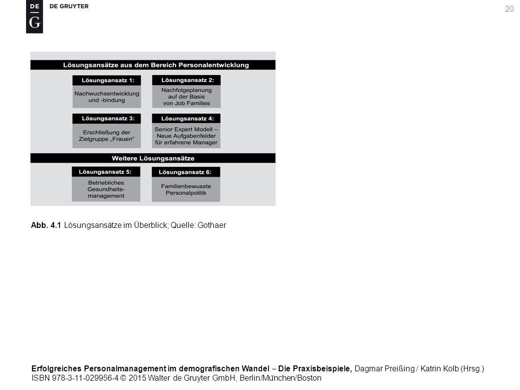 Erfolgreiches Personalmanagement im demografischen Wandel ‒ Die Praxisbeispiele, Dagmar Preißing / Katrin Kolb (Hrsg.) ISBN 978-3-11-029956-4 © 2015 Walter de Gruyter GmbH, Berlin/Mu ̈ nchen/Boston 20 Abb.