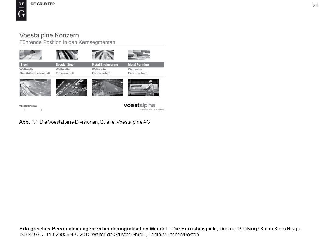 Erfolgreiches Personalmanagement im demografischen Wandel ‒ Die Praxisbeispiele, Dagmar Preißing / Katrin Kolb (Hrsg.) ISBN 978-3-11-029956-4 © 2015 Walter de Gruyter GmbH, Berlin/Mu ̈ nchen/Boston 26 Abb.