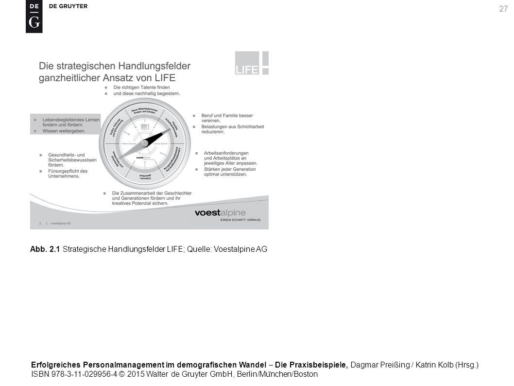 Erfolgreiches Personalmanagement im demografischen Wandel ‒ Die Praxisbeispiele, Dagmar Preißing / Katrin Kolb (Hrsg.) ISBN 978-3-11-029956-4 © 2015 Walter de Gruyter GmbH, Berlin/Mu ̈ nchen/Boston 27 Abb.