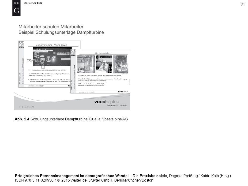 Erfolgreiches Personalmanagement im demografischen Wandel ‒ Die Praxisbeispiele, Dagmar Preißing / Katrin Kolb (Hrsg.) ISBN 978-3-11-029956-4 © 2015 Walter de Gruyter GmbH, Berlin/Mu ̈ nchen/Boston 31 Abb.