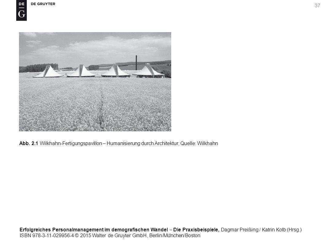 Erfolgreiches Personalmanagement im demografischen Wandel ‒ Die Praxisbeispiele, Dagmar Preißing / Katrin Kolb (Hrsg.) ISBN 978-3-11-029956-4 © 2015 Walter de Gruyter GmbH, Berlin/Mu ̈ nchen/Boston 37 Abb.