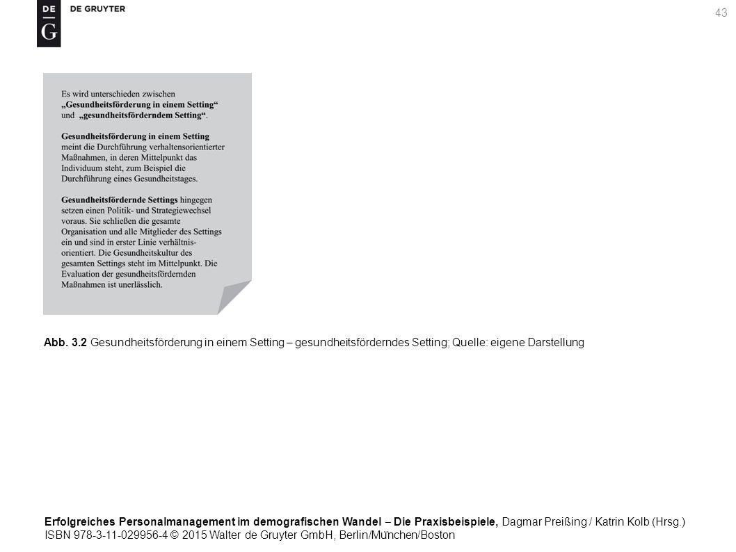 Erfolgreiches Personalmanagement im demografischen Wandel ‒ Die Praxisbeispiele, Dagmar Preißing / Katrin Kolb (Hrsg.) ISBN 978-3-11-029956-4 © 2015 Walter de Gruyter GmbH, Berlin/Mu ̈ nchen/Boston 43 Abb.