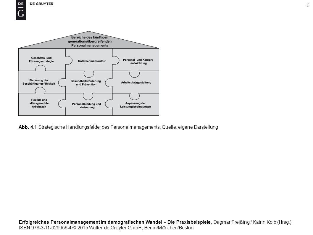 Erfolgreiches Personalmanagement im demografischen Wandel ‒ Die Praxisbeispiele, Dagmar Preißing / Katrin Kolb (Hrsg.) ISBN 978-3-11-029956-4 © 2015 Walter de Gruyter GmbH, Berlin/Mu ̈ nchen/Boston 6 Abb.