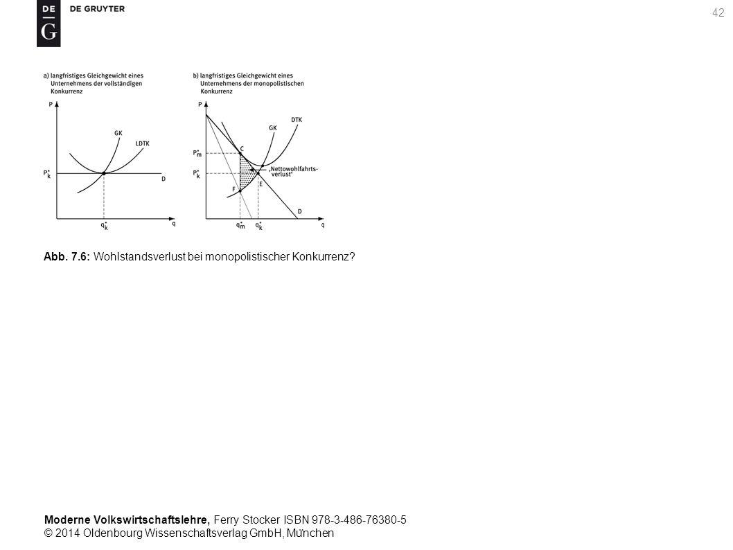 Moderne Volkswirtschaftslehre, Ferry Stocker ISBN 978-3-486-76380-5 © 2014 Oldenbourg Wissenschaftsverlag GmbH, Mu ̈ nchen 42 Abb. 7.6: Wohlstandsverl