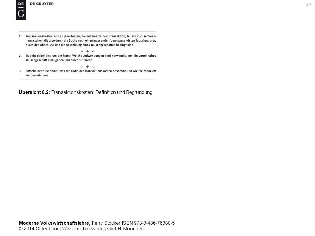 Moderne Volkswirtschaftslehre, Ferry Stocker ISBN 978-3-486-76380-5 © 2014 Oldenbourg Wissenschaftsverlag GmbH, Mu ̈ nchen 47 Übersicht 8.2: Transaktionskosten: Definition und Begru ̈ ndung