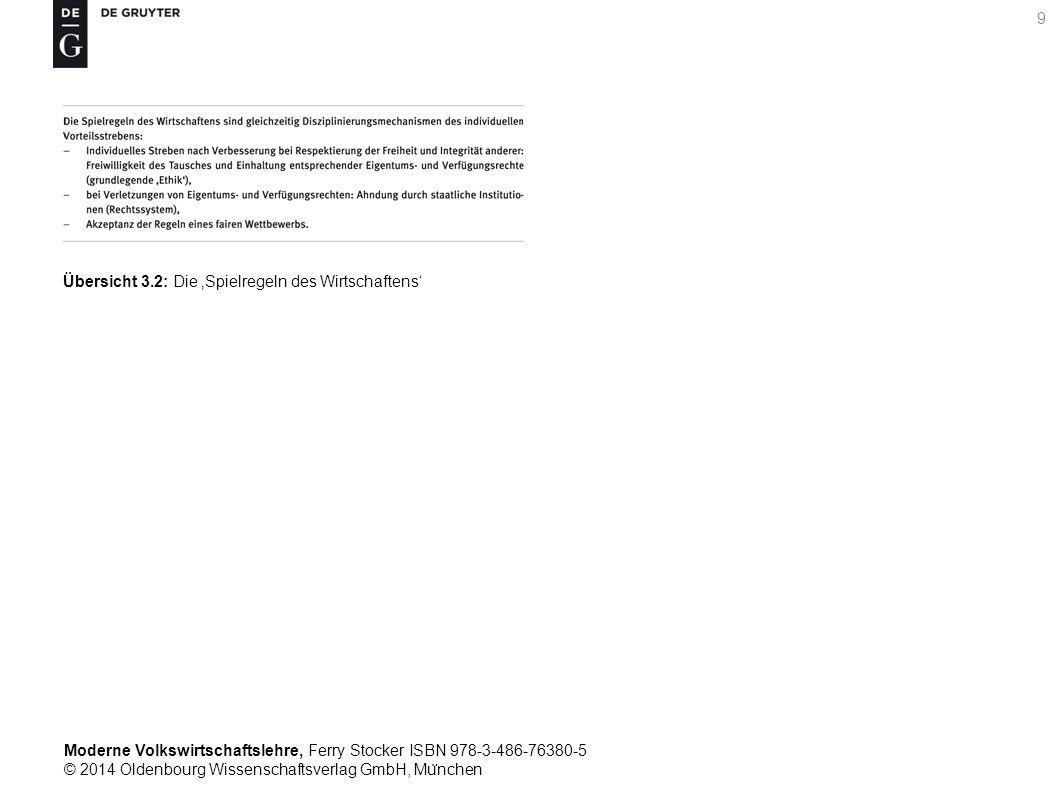 Moderne Volkswirtschaftslehre, Ferry Stocker ISBN 978-3-486-76380-5 © 2014 Oldenbourg Wissenschaftsverlag GmbH, Mu ̈ nchen 9 Übersicht 3.2: Die 'Spielregeln des Wirtschaftens'