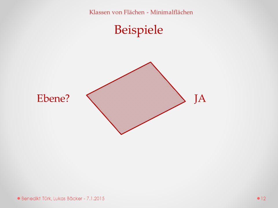 Benedikt Türk, Lukas Bäcker - 7.1.2015 Klassen von Flächen - Minimalflächen Beispiele Ebene?JA 12