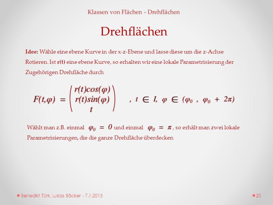 Benedikt Türk, Lukas Bäcker - 7.1.2015 Klassen von Flächen - Drehflächen Idee: Wähle eine ebene Kurve in der x-z-Ebene und lasse diese um die z-Achse