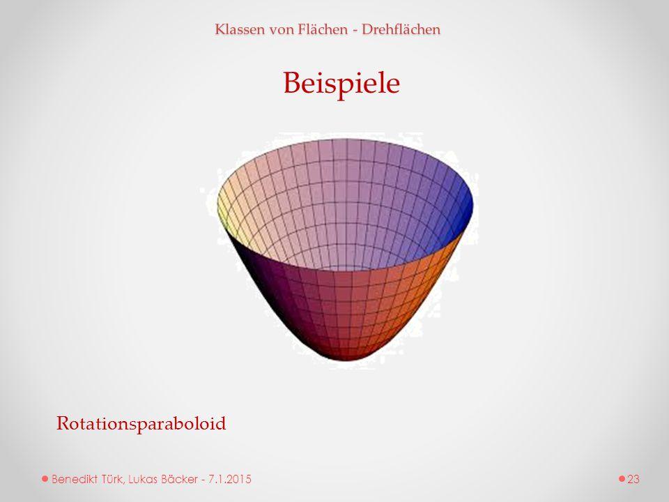 Benedikt Türk, Lukas Bäcker - 7.1.2015 Klassen von Flächen - Drehflächen Beispiele Rotationsparaboloid 23