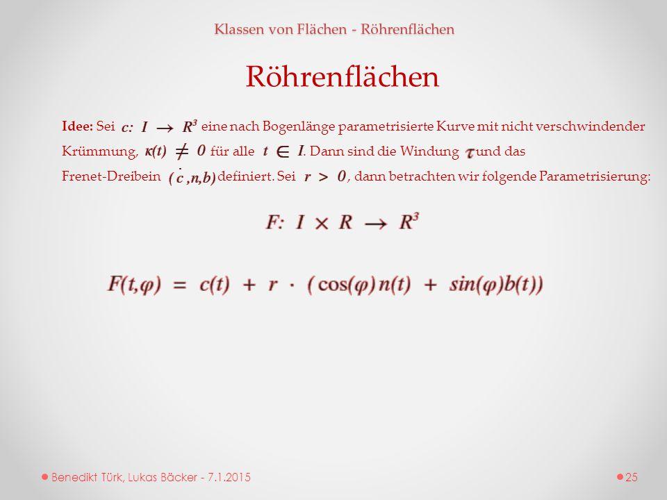Benedikt Türk, Lukas Bäcker - 7.1.2015 Klassen von Flächen - Röhrenflächen Röhrenflächen Idee: Sei eine nach Bogenlänge parametrisierte Kurve mit nich