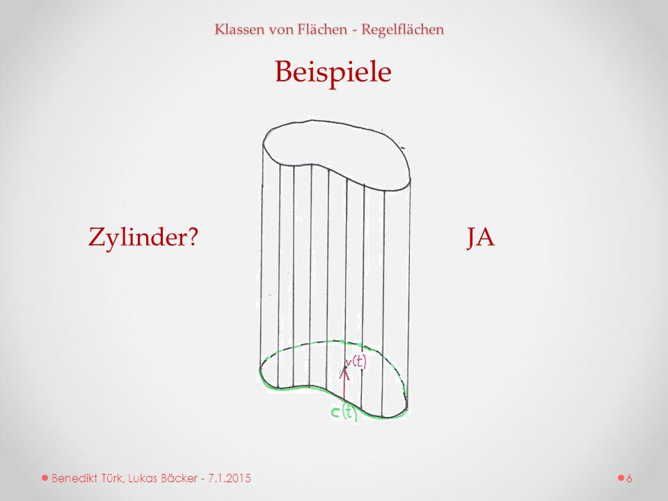 Benedikt Türk, Lukas Bäcker - 7.1.2015 Klassen von Flächen - Regelflächen Beispiele Zylinder?JA 6