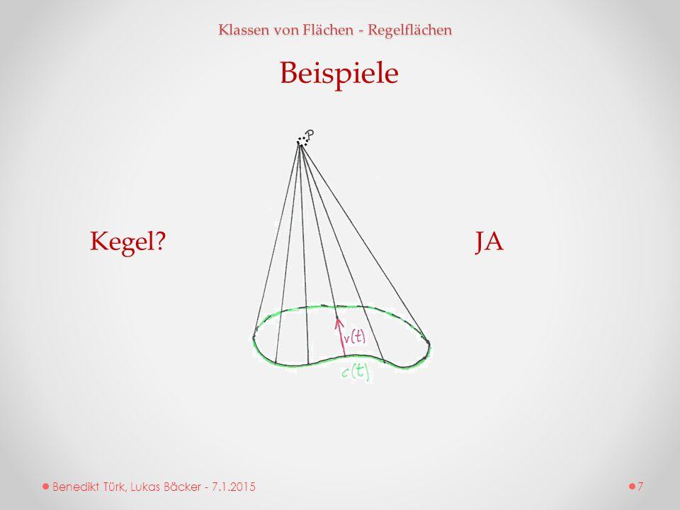 Benedikt Türk, Lukas Bäcker - 7.1.2015 Klassen von Flächen - Regelflächen Beispiele Kegel?JA 7