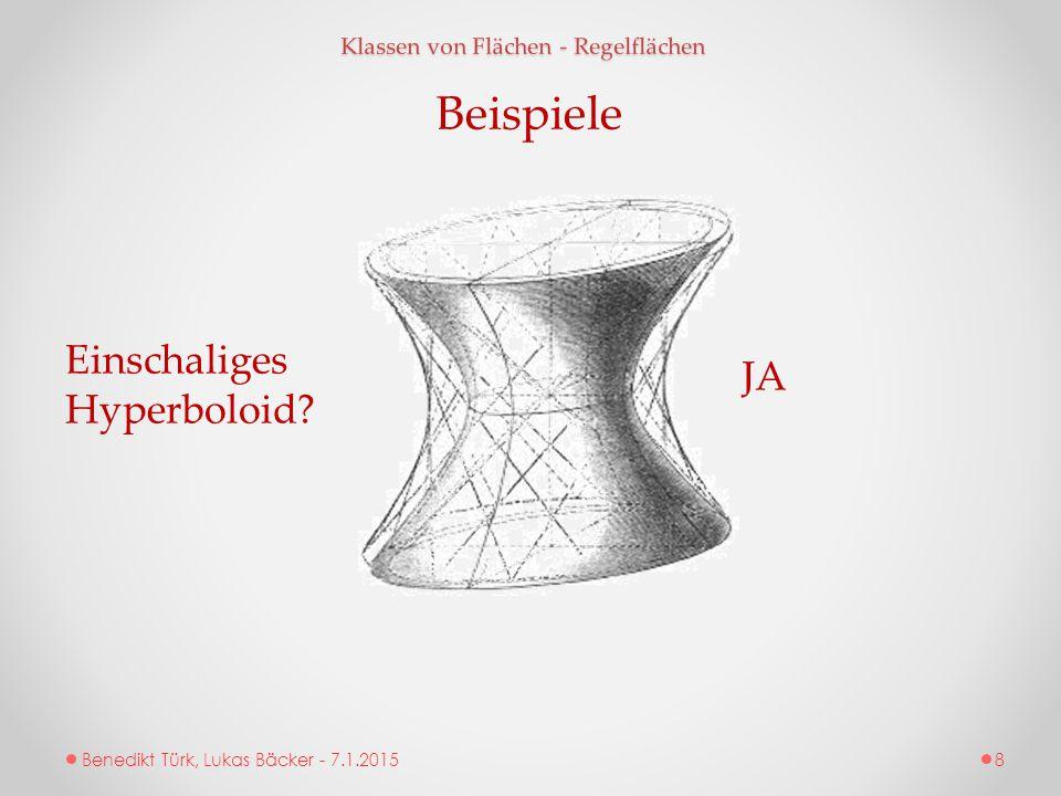 Benedikt Türk, Lukas Bäcker - 7.1.2015 Klassen von Flächen - Regelflächen Beispiele Einschaliges Hyperboloid? JA 8