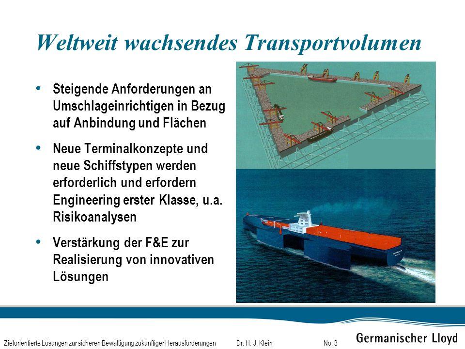 Dr. H. J. KleinZielorientierte Lösungen zur sicheren Bewältigung zukünftiger HerausforderungenNo. 3 Weltweit wachsendes Transportvolumen Steigende Anf