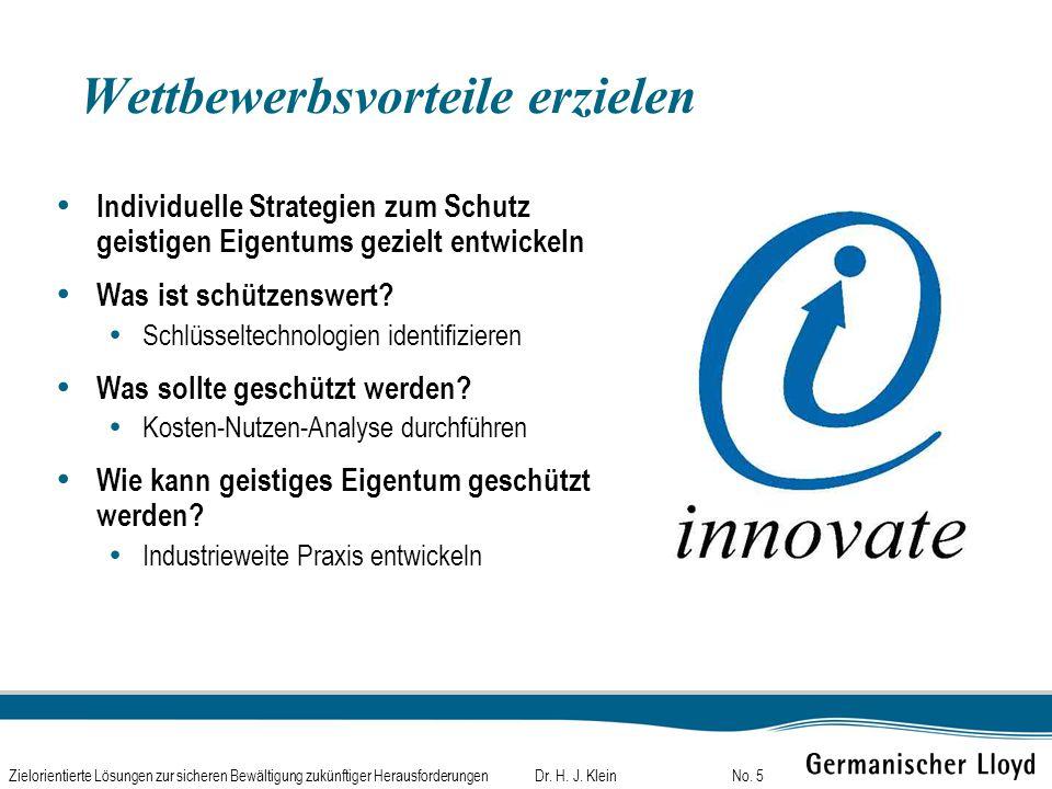 Dr. H. J. KleinZielorientierte Lösungen zur sicheren Bewältigung zukünftiger HerausforderungenNo. 5 Wettbewerbsvorteile erzielen Individuelle Strategi