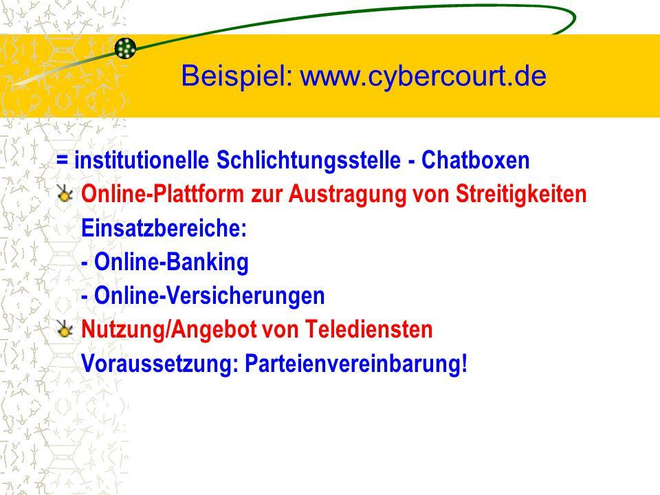 Beispiel: www.cybercourt.de = institutionelle Schlichtungsstelle - Chatboxen Online-Plattform zur Austragung von Streitigkeiten Einsatzbereiche: - Onl