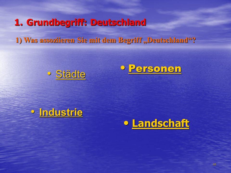 1. Grundbegriff: Deutschland Städte Städte Städte Personen Personen Personen Industrie Industrie Industrie Landschaft Landschaft Landschaft →→→→ 1) Wa