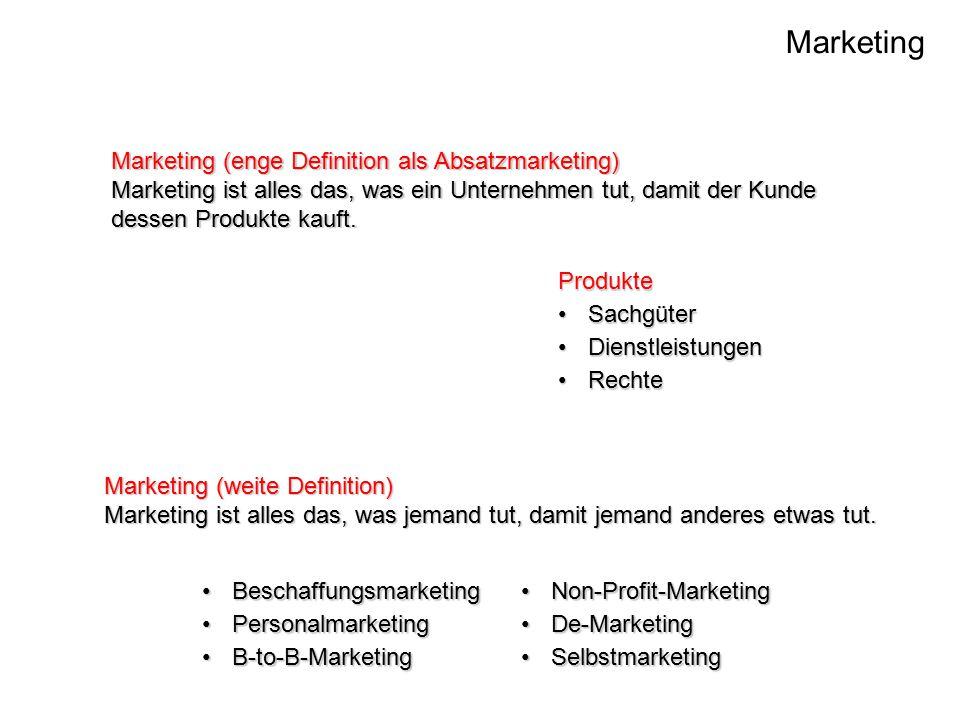 Marketing Marketing (enge Definition als Absatzmarketing) Marketing ist alles das, was ein Unternehmen tut, damit der Kunde dessen Produkte kauft.