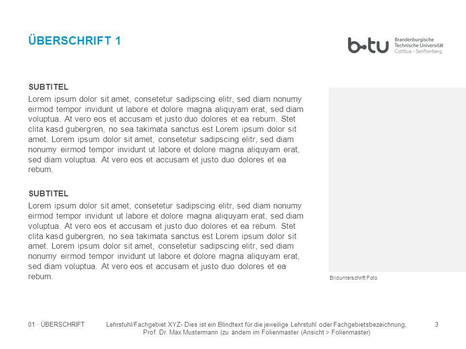 Lehrstuhl/Fachgebiet XYZ- Dies ist ein Blindtext für die jeweilige Lehrstuhl oder Fachgebietsbezeichnung, Prof.
