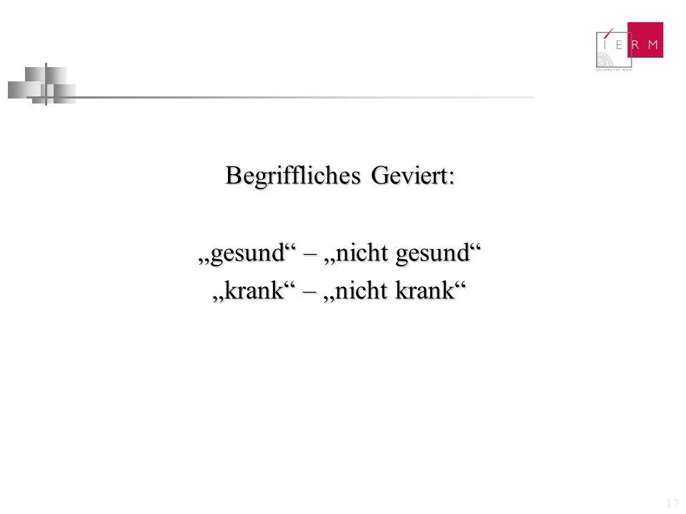 """17 Begriffliches Geviert: """"gesund"""" – """"nicht gesund"""" """"krank"""" – """"nicht krank"""" """"krank"""" – """"nicht krank"""""""