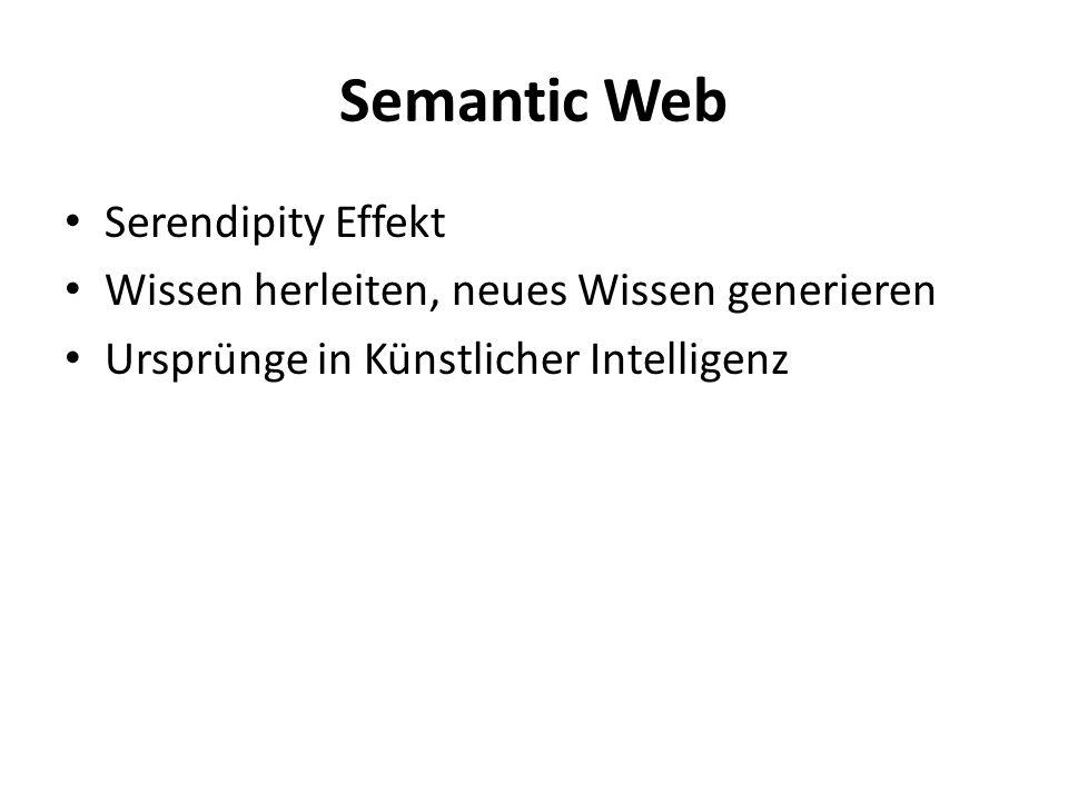 Wissensrepräsentation Wird teilweise fürs Semantic Web verwendet Eine Wissensrepräsentation beschreibt einen Wissensbereich mit Hilfe von Standards und definierten Beziehungen Semantic Web geht ähnlich eines Wissensbereichs ohne Grenzen vor Semantic Web setzt Metadaten(Annotationen) voraus Annotationen verarbeiten Inhalte für Maschinen interpretierbar.