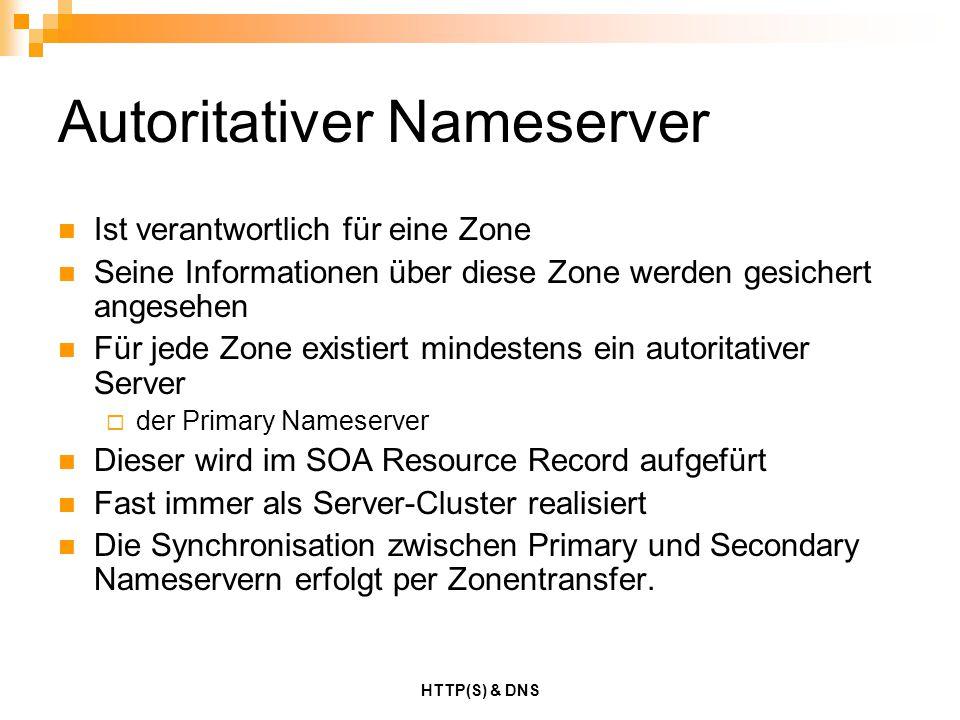 HTTP(S) & DNS Autoritativer Nameserver Ist verantwortlich für eine Zone Seine Informationen über diese Zone werden gesichert angesehen Für jede Zone e