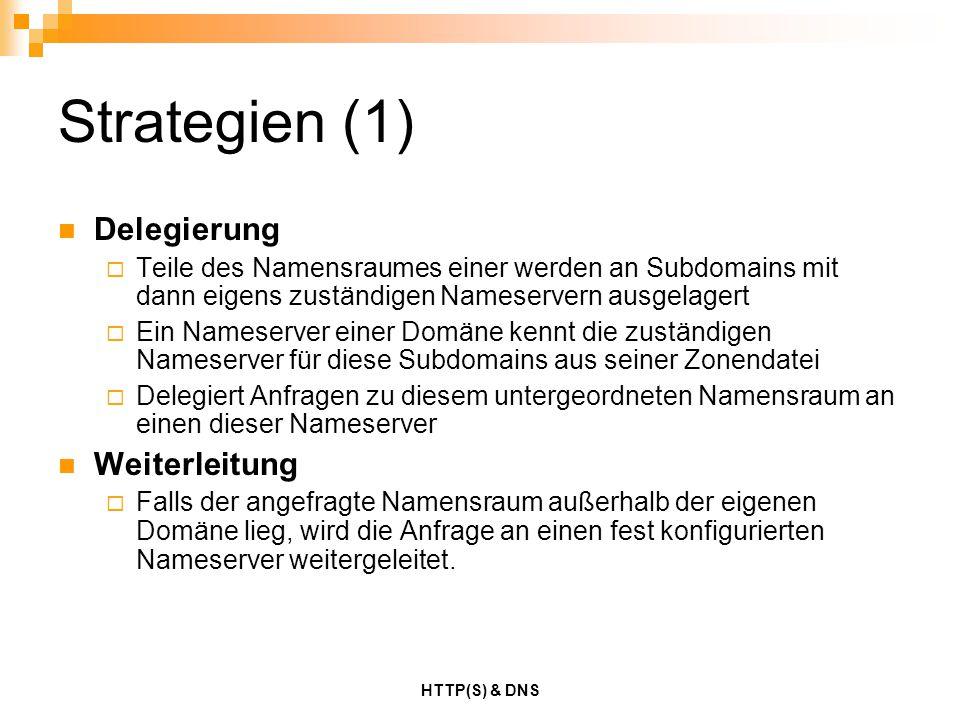 HTTP(S) & DNS Strategien (1) Delegierung  Teile des Namensraumes einer werden an Subdomains mit dann eigens zuständigen Nameservern ausgelagert  Ein