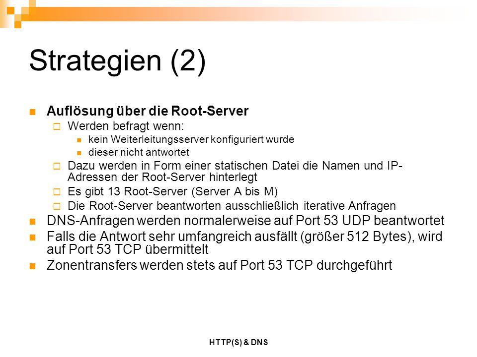HTTP(S) & DNS Strategien (2) Auflösung über die Root-Server  Werden befragt wenn: kein Weiterleitungsserver konfiguriert wurde dieser nicht antwortet