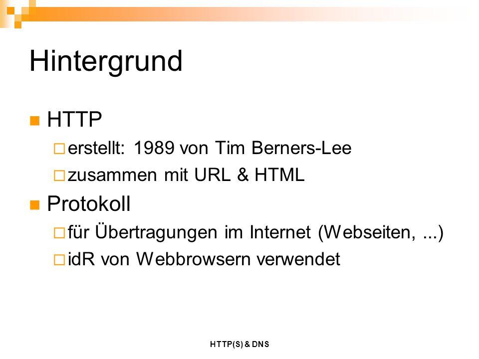 HTTP(S) & DNS Hintergrund HTTP  erstellt: 1989 von Tim Berners-Lee  zusammen mit URL & HTML Protokoll  für Übertragungen im Internet (Webseiten,...