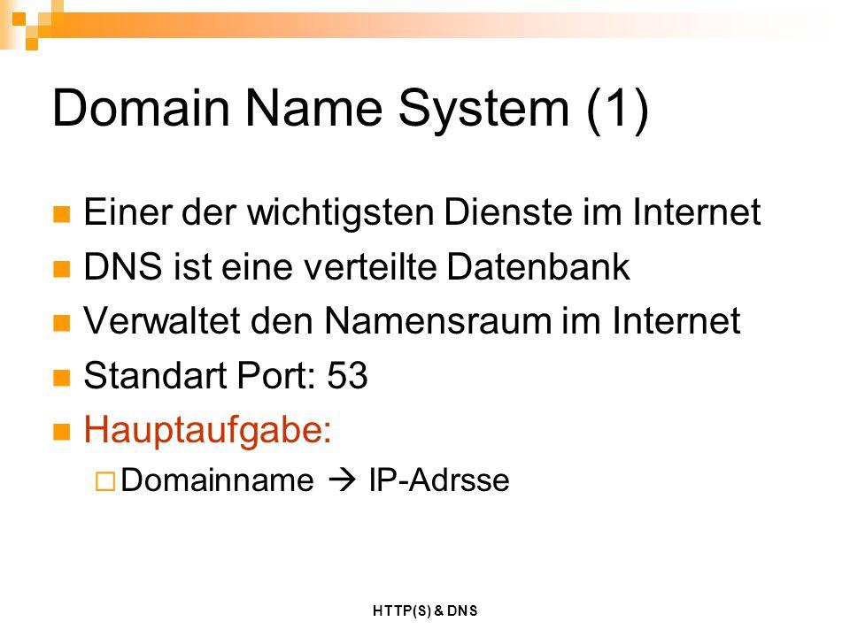 HTTP(S) & DNS Strategien (2) Auflösung über die Root-Server  Werden befragt wenn: kein Weiterleitungsserver konfiguriert wurde dieser nicht antwortet  Dazu werden in Form einer statischen Datei die Namen und IP- Adressen der Root-Server hinterlegt  Es gibt 13 Root-Server (Server A bis M)  Die Root-Server beantworten ausschließlich iterative Anfragen DNS-Anfragen werden normalerweise auf Port 53 UDP beantwortet Falls die Antwort sehr umfangreich ausfällt (größer 512 Bytes), wird auf Port 53 TCP übermittelt Zonentransfers werden stets auf Port 53 TCP durchgeführt