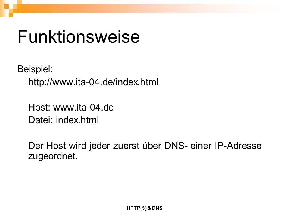 HTTP(S) & DNS Funktionsweise Beispiel: http://www.ita-04.de/index.html Host: www.ita-04.de Datei: index.html Der Host wird jeder zuerst über DNS- eine