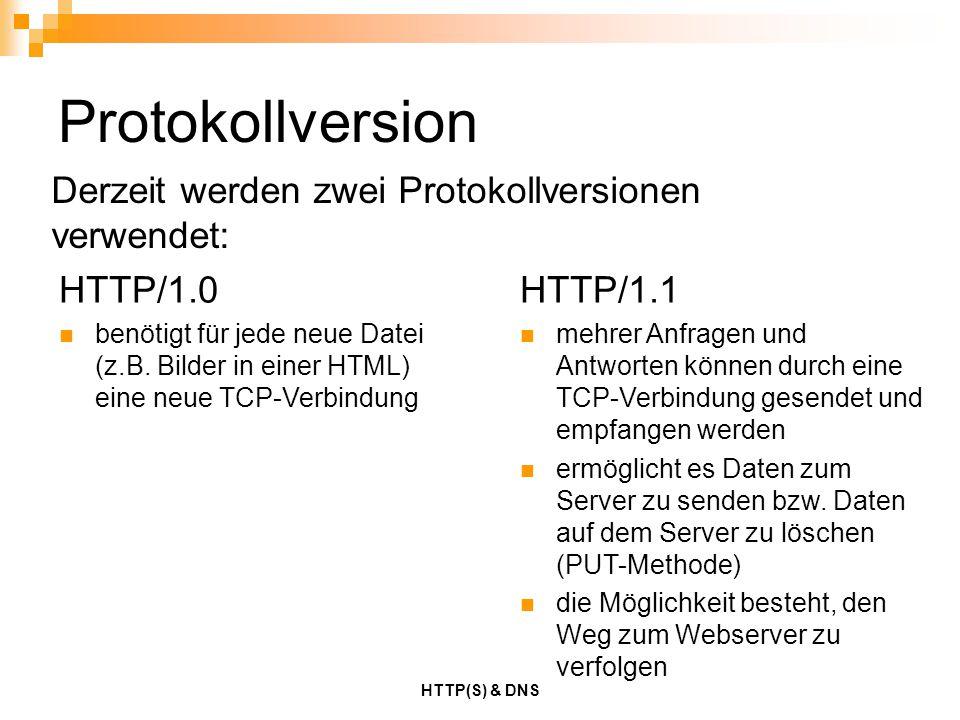 HTTP(S) & DNS Protokollversion Derzeit werden zwei Protokollversionen verwendet: HTTP/1.0 benötigt für jede neue Datei (z.B. Bilder in einer HTML) ein